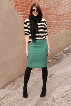 slouchy stripe + pencil skirt + opaque tights + pashmina // grey tone, pop of colour
