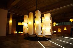 Akari Light Sculptures at an Ozeki Lantern Co. showroom.