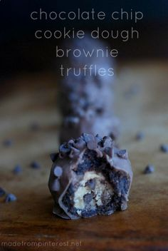 Chocolate Chip Cookie Dough Brownie Truffles.Chocolatey rich and decadent
