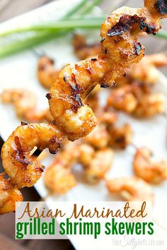 Asian Marinated Grilled Shrimp Skewers - They are sooo good, slightly sweet with the smokiness from the grill really let's the Asian marinade shine! These are probably the best shrimp I have ever had, marinade wise Marinated Grilled Shrimp, Grilled Shrimp Recipes, Seafood Recipes, Grilled Meat, Seafood Dishes, Dinner Recipes, Pork Rib Recipes, Grilling Recipes, Cooking Recipes