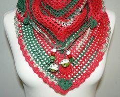 XMas crochet Road Trip scarf triangle scarf by CrochetRagRug