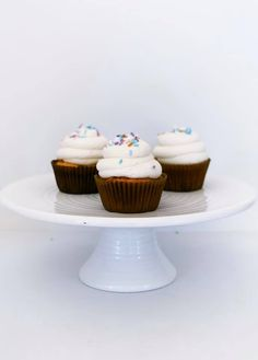 Baked by Billie located in Raleigh, North Carolina is no stranger to experimenting with new flavors. Here is one of her newest cupcake creations - Chocolate Chip Blondie with Buttercream Frosting topped with sprinkles.