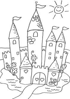 Castle Coloring Page, Colouring Pages, Coloring Books, Dr Kids, Drawing Lessons For Kids, 2nd Grade Art, Color Activities, Free Printable Coloring Pages, Coloring Pages For Kids