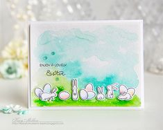Lovely Easter Card by Kay Miller for Papertrey Ink (February 2016)
