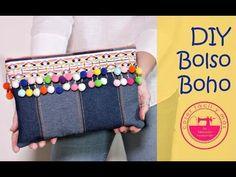 DIY!!como hacer un bolso étnico fácil y rápido paso a paso. - YouTube Diy Clutch, Diy Purse, Clutch Bag, Diy Makeup Bag, Cute Sewing Projects, Diy Sac, Denim Bag, Boho Diy, Handmade Bags