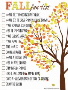 Free Printable: Fall Fun List! Lots of ideas to do with the kiddos or make your own list.