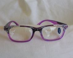 Swarovski Crystal Reading Glasses, 2.50 Lens, Two Tone Stylish Namebrand Black and Amethyst Stunning in Clear, Amethyst, Lavender Crystals by jamaartbeads. Explore more products on http://jamaartbeads.etsy.com