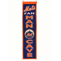 """This beautifully embroidered 8"""" x 32"""" wool banner commemorates the New York Mets with a Man Cave motif. A """"Must Have"""" for all New York Mets super-fans."""