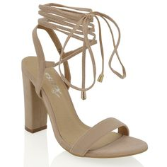 LACEY NUDE FAUX SUEDE LACE UP STRAPPY BLOCK HEELS