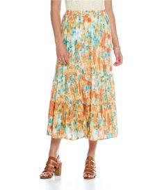 15e14b384fc Reba Sahara Oasis Printed Tiered Midi Skirt  Dillards Dillards