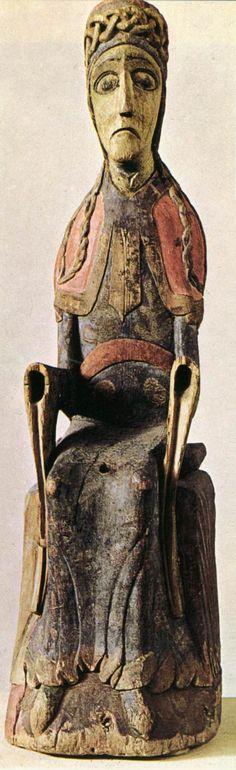 UNKNOWN MASTER, Swedish Virgin of Mosjö c. 1150 Polychromed wood Nationalmuseet, Copenhagen