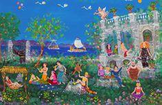 Εικαστικές «Χίλιες και μία νύχτες» ονείρου και παρηγοριάς   naftemporiki.gr Painter Artist, Artist Art, Greek Paintings, Art Paintings, Contemporary Decorative Art, Mediterranean Art, 10 Picture, Greek Art, Naive Art