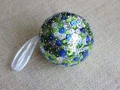 Large Sequin Christmas Ornament | Cobalt Blue, Lime Green, & Silver Sequin Ornament with White Ribbon by PeabodiesGlasshouse on Etsy https://www.etsy.com/listing/254348342/large-sequin-christmas-ornament-cobalt