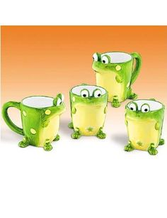 Set Of 4 Toby the Toad/Frog Mugs Collectible And Fun Toad, Decor Crafts, Coffee Cups, Tea Pots, Mugs, Tableware, Amazon, Collection, Cookie Jars