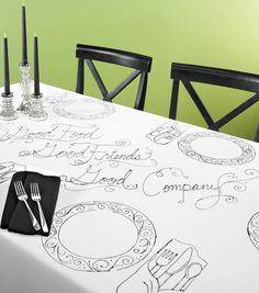 Cute idea for a dinner party!  Outline plates and place settings for a unique tablescape!