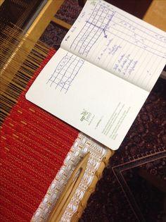 """Sjaal op 4-schacht weefgetouw. Eerst een deel linnenbinding (1-3;2-4) daarna patroon. Rode wol is acryl,polyamide en wol van """"stop Zafiro"""" witte deel is begin in katoen om de draden goed te verdelen"""
