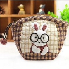 Doctor Rabbit Purse Pouch Bag Sewing Fun Kits for Girls Women Adult (Big) -- Check out the image by visiting the link. Japanese Patchwork, Japanese Quilts, Patchwork Bags, Quilted Bag, Hand Applique, Applique Quilts, Freehand Machine Embroidery, Animal Bag, Sewing Appliques