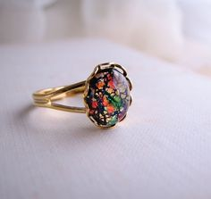 Black opal ring with vintage art glass stone by shadowjewels, $16.00
