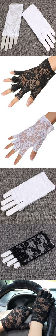 New Arrival Goth Party Sexy Dressy Women Lady Lace Gloves Mittens Accessories Fingerless Black White