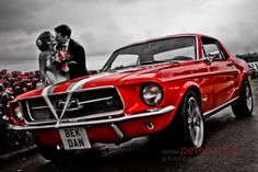A vintage red mustang is my dream car. What a cool wedding get away car.