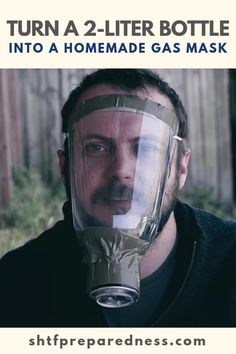 Here's a fun DIY project for you. You can turn a bottle into a gas mask that will protect you from things like pepper spray and tear gas. Survival Food, Outdoor Survival, Survival Prepping, Emergency Preparedness, Survival Skills, Survival Hacks, Survival Essentials, Survival Fishing, Emergency Preparation