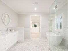 This is a beautiful Hamptons style renovation of this Queenslander in Brisbane - and it's back on the market. Take a look at 167 Simpsons Road Bardon now. Bathroom Layout, Bathroom Interior, Modern Bathroom, Small Bathroom, Bathroom Ideas, Bathroom Designs, Budget Bathroom, Bathroom Inspo, Bathroom Organization