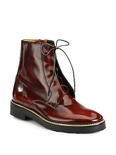 Classy version of Docs: Maison Martin Margiela Patent Leather Lace-Up Military Boots