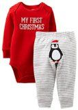 "Dress your little one for the occasion in this two piece ""My first Christmas"" baby set by Carter's. The bodysuit features long sleeves to keep your little one warm during the winter months and a three button snap closure for easy dressing. Toddler Outfits, Baby Boy Outfits, Kids Outfits, Babies First Christmas, Christmas Baby, Christmas Ideas, Christmas Gifts, Christmas Pajamas, Christmas 2015"