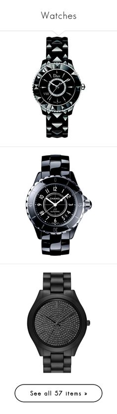 """""""Watches"""" by princesserinna on Polyvore featuring jewelry, watches, apparel & accessories, black, diamond watches, black diamond bracelet, black watches, bracelet watches, black diamond watches and black ceramic watches"""