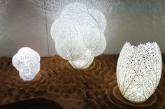 "3D printing design studio Nervous Systems wowed us with these gorgeous 3D-printed ""Hyphae Lamps"". The design is modeled on how veins form in leaves. As if biomimetic design and zero-waste 3D printing technology wasn't eco enough for ya, these lamps also employ low energy LED illumination. WIN!"