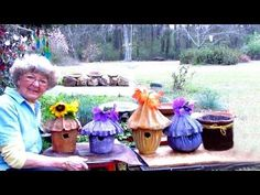 March 22 2017 This Is My Peaceful Place I Spend So Many Wonderful Hours Here. I love making Portland Cement Bird houses & flower pots and painting them. Concrete Garden Ornaments, Diy Cement Planters, Cement Flower Pots, Concrete Crafts, Concrete Projects, Diy Crafts Yard, Garden Crafts, Garden Art, Bird Houses Painted