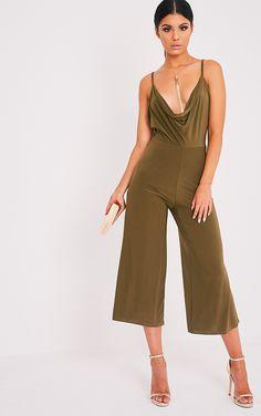 Sofia Khaki Scoop Front Cullotte Slinky Jumpsuit