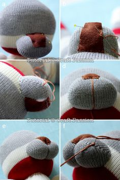 Animal Sewing sock lion nose - Sew a cute sock lion, Shimba, from a pair of socks with this free pattern and tutorial. Step by step photo with detailed directions given. Animal Sewing Patterns, Sewing Patterns Free, Free Sewing, Doll Patterns, Free Pattern, Pattern Sewing, Sewing Toys, Sewing Crafts, Sewing Projects