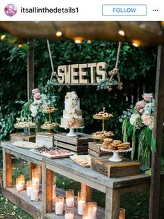 34 Mouth-watering Wedding Dessert Table Ideas - Amaze Paperie - Serve dessert in the garden. Informations About 34 Mouth-watering Wedding Dessert Table Ideas – Am - Dessert Table Decor, Wedding Dessert Tables, Food Table Decorations, Wedding Sweets, Wedding Sweet Tables, Rustic Wedding Bar, Diy Wedding Food, Card Table Wedding, Party Tables