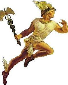 Hermes- Mensajero de los Dioses, Las alas de su casco y sandalias representan agilidad física y mental.