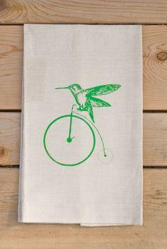 Bird On A Bike Natural Linen Tea Towel by StudioCtextiles on Etsy, $20.00