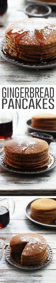 Fluffy Gingerbread Pancakes with Cinnamon Maple Syrup