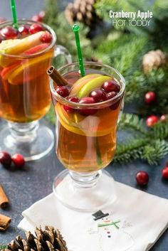 Cranberry Apple Hot Toddy cocktail with apple slices, cinnamon stick and cranberries in a… - Cocktails For Parties, Winter Cocktails, Holiday Cocktails, Cocktail Drinks, Popular Cocktails, Bourbon Cocktails, Apple Tv, Apple Cider, Cheers