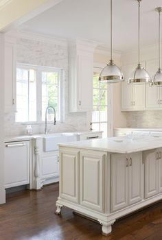 Crisp, clean modern yet traditional kitchen for this renovated 1930's vintage home.