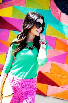 turquoise top + fuchsia pants + chunky necklace & arm candy