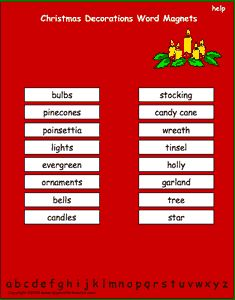 Christmas Decorations vocabulary words, interactive word magnet game, vocabulary magnet games, arrange the magnets in alphabetical order.