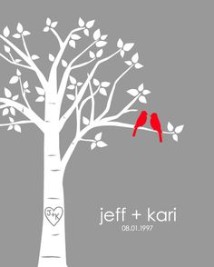 Personalized Custom Love Birds Wedding Gift  Family by karimachal, $18.00