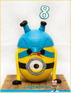 Gravity defying cake. Minion cake
