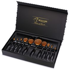 Professional Oval Makeup Brush Set Kit With Case