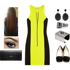Neon Dress by teodoramaria98 on Polyvore featuring Michael Kors, Brian Atwood, Coach, BISOU BIJOUX, REMINISCENCE and David Yurman