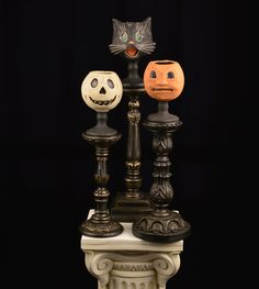 """Black and Gold Leaf Candlesticks - Bethany Lowe – Black Bow Halloween Shoppe. A trio of gorgeous carved, hand-painted wood candlesticks will add a ghostly glow to any space this Halloween season. Sold as a set of three - 10"""", 12"""" 14"""". Perfect to group together or scatter throughout your home any time of the year. Bethany Lowe. Set of three FREE SHIPPING!!"""