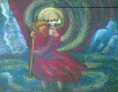 Oefenen in Zutphen.  Heiligen 2e Chalkboard Drawings, Rudolf Steiner, Saint Christopher, Second Grade, Painting, Drawings, Saints, Chalkboards, Third