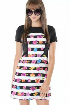 Mod Floral Stripe Dress $39.99 #sophieandtrey #dresses #stripes #floral #blackandwhite