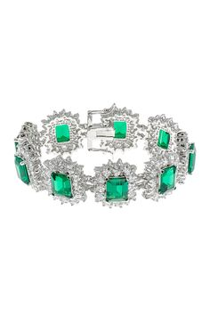 TO GO WITH THAT LITTLE BLACK DRESS?  Emerald & Clear Multi CZ Links Framed Vintage Bracelet <3