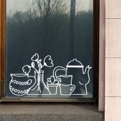 Do you have a boring window sill and/or can't put anything on it? Draw this window drawing, illustrated by Megan McNulty. The flowers will always look good. Window Art, Window Sill, Chalk Markers, Store Windows, Chalk Art, Glass Art, Display, Drawings, Creative